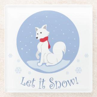 Let it Snow! (Arctic Fox) Glass Coaster