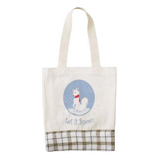 Let It Snow! (Arctic Fox) Zazzle HEART Tote Bag