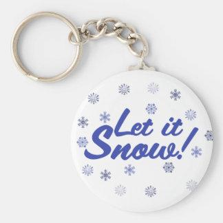 Let it Snow Basic Round Button Keychain