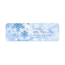 Let it Snow Blue Address Label