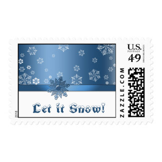 Let it snow! Blue and White Snowflake Postage