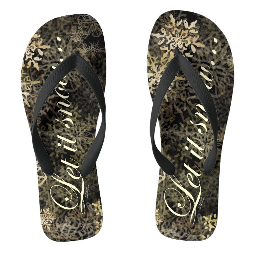 Let It Snow Blue Beach Song ™ Pair of Flip Flops