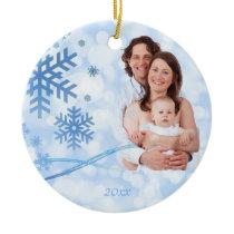 Let it Snow Blue Christmas Ornament