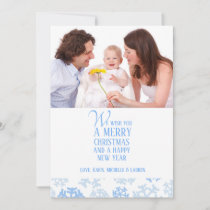 Let It Snow Blue Flat Holiday Card
