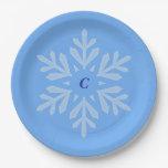 Let it Snow Blue Monogram Paper Plate