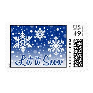 Let It Snow Blue Postage