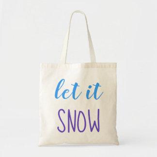 Let it Snow Blue & Purple Typography Tote Bag