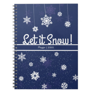 Let it Snow, Blue Snowflake Spiral Notebook