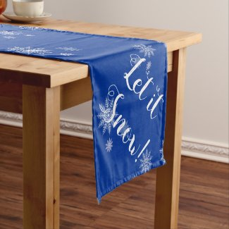 Let it Snow! Blue & White Snowflake Table Runner