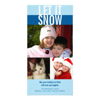 Let it snow bold navy blue Christmas greeting Customized Photo Card