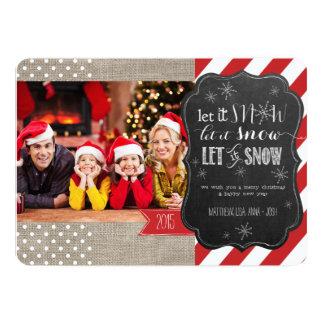 Let It Snow Burlap Stripes and Dots Photo Card