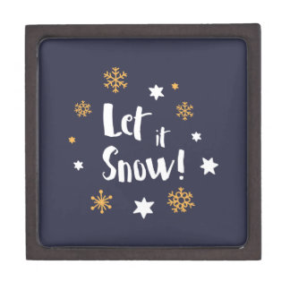 """Let it Snow!""  Calligraphy Christmas Blue Jewelry Box"
