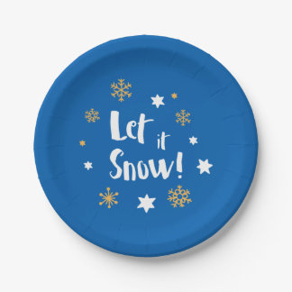"""""""Let it Snow!"""" Calligraphy Christmas Blue White Paper Plate"""