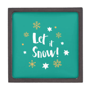 """Let it Snow!""  Calligraphy Christmas Teal Gift Box"