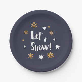 """""""Let it Snow!"""" Calligraphy Christmas White Paper Plate"""