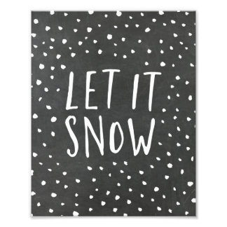 Let It Snow Chalkboard Holiday Art Print