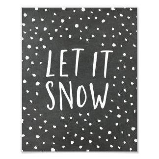 Let It Snow Chalkboard Holiday Art Print Photo Print