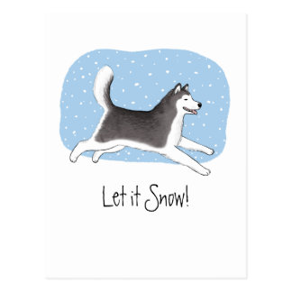 """Let it Snow!"" Cheerful Dog Design Postcard"
