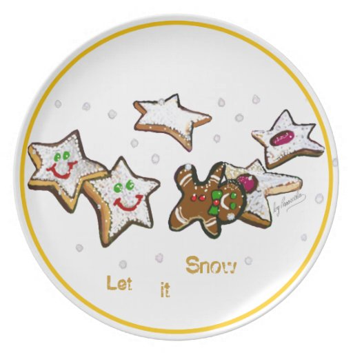 Let it Snow Christmas Cookies and Ginger Bread Man Plate