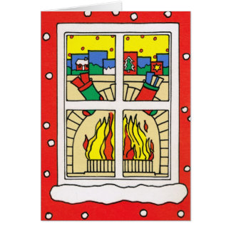 Let it snow!, Christmas fireplace Card