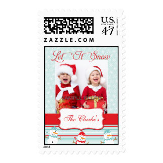 Let It Snow Christmas Greeting Photo Postage