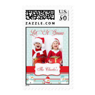 Let It Snow Christmas Greeting Photo Postage at Zazzle