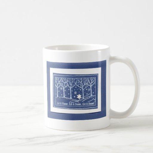 Let it Snow Christmas Holiday Greetings Blue White Classic White Coffee Mug