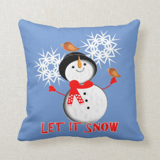 Let It Snow Christmas Holiday Season Cute Snowman Throw Pillow