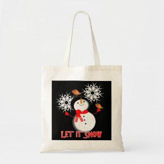 Let It Snow Christmas Holiday Season Cute Snowman Tote Bag