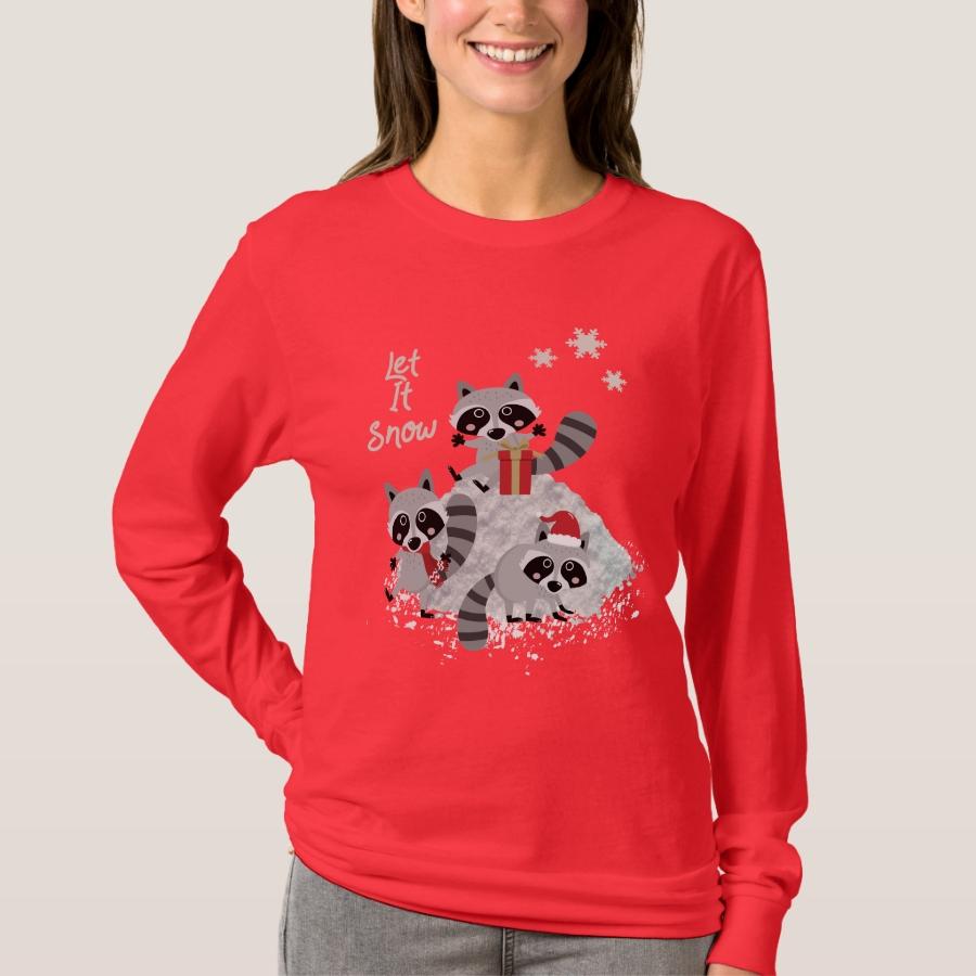 LET IT SNOW CHRISTMAS RACCOONS WILDLIFE WOMEN'S T-Shirt - Best Selling Long-Sleeve Street Fashion Shirt Designs