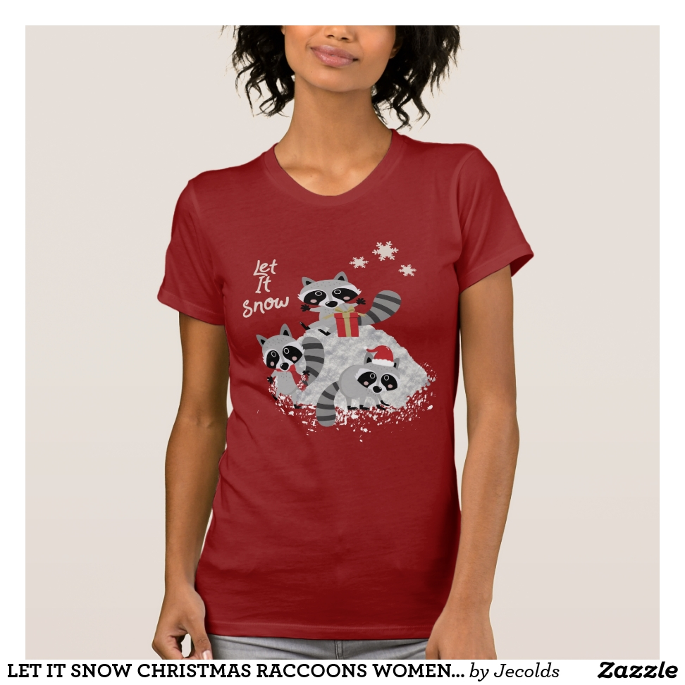 LET IT SNOW CHRISTMAS RACCOONS WOMEN'S HOLIDAY T-Shirt - Best Selling Long-Sleeve Street Fashion Shirt Designs