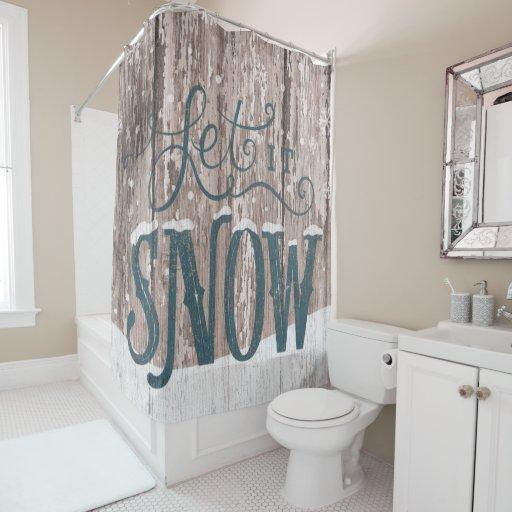 Let It Snow Christmas Shower Bathroom Curtain