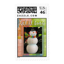 Let it snow Christmas snowman postage stamp