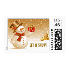 Let it snow! Christmas Snowman with Top hat stamp