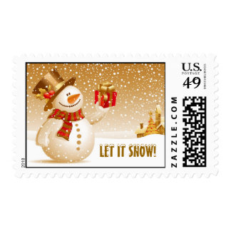 Let it snow! Christmas Snowman  with Top hat Postage