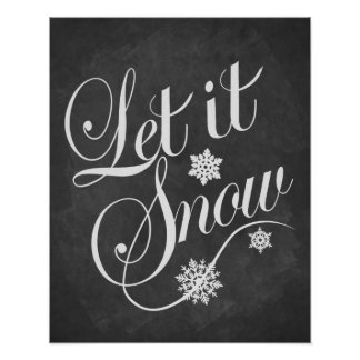 Let It Snow Christmas vintage chalkboard print