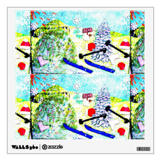 Let it Snow collage Snowman ski glitter Wall Sticker