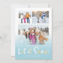 Let it Snow Cute Christmas Animals Multiple Photo Holiday Card