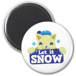 LET IT SNOW cute little kitty 2 Inch Round Magnet