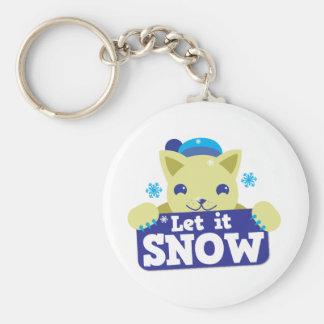 LET IT SNOW cute little kitty Key Chain