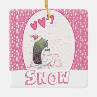 Let it snow | Cute Penguin Christmas Ceramic Ornament