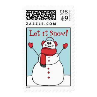 Let it Snow Cute Snowman Postage