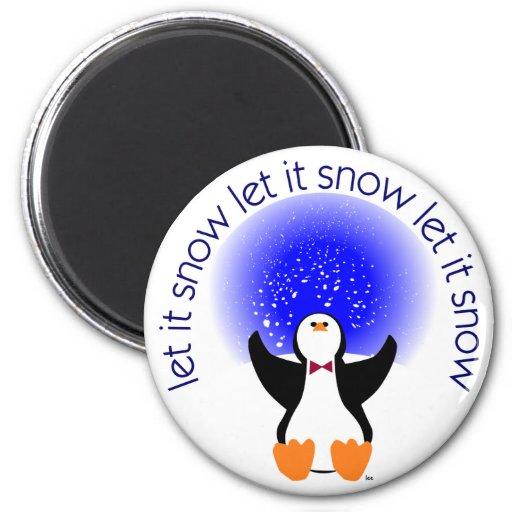 Let It Snow Day Penguin Refrigerator Magnet