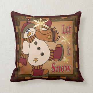 Let it Snow Decorative Vintage Snowman Throw Pillow