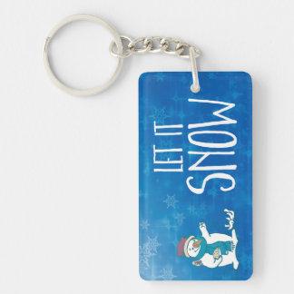 Let It Snow Double-Sided Rectangular Acrylic Keychain