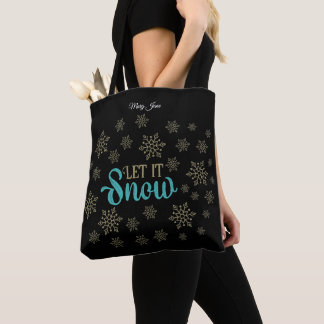 Let It Snow Flakes Tote Bag