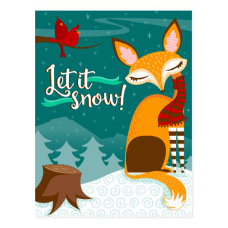 Let Snow Holiday Postcards | Zazzle