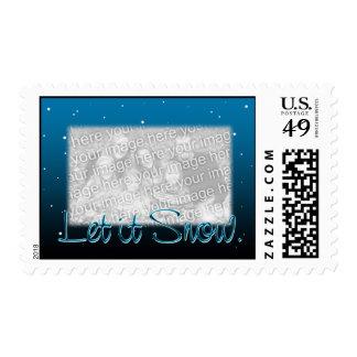 Let it Snow Frame in Blue & Black Postage
