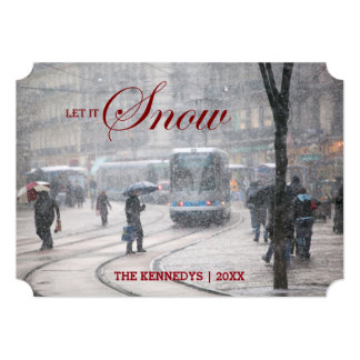 Let it Snow - French Alps street Winter Snowstorm Card