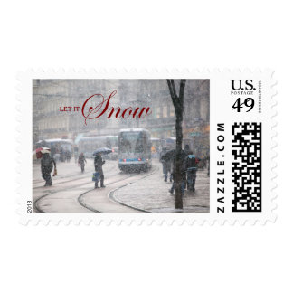 Let it Snow - French Alps street Winter Snowstorm Stamp